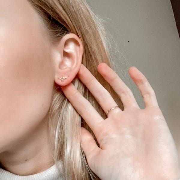 Bee Stud Earrings - Gold