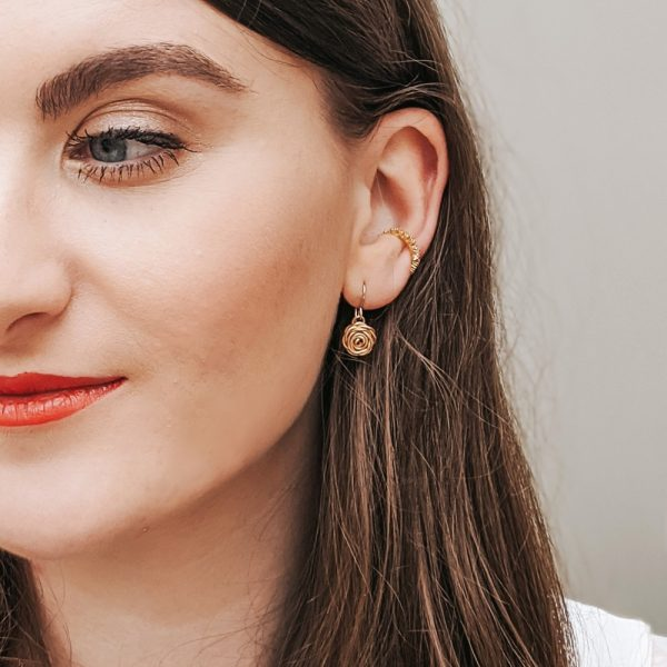 Choose feminine florals with our Rose Drop Earrings in Gold