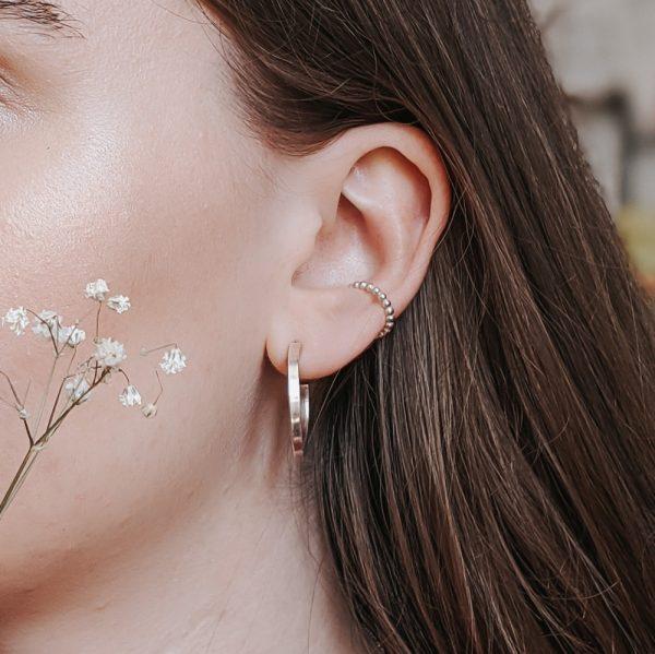 Beaded Ear Cuff - Silver